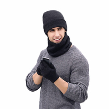 Plain Men Hat Scarf Gloves Sets Wool Knitted Beanies Winter Warm Muffler Scarves Snow Caps Ring Scarf Telefingers Gloves