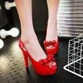 Verano nueva peep toe thin plataforma tacones altos bombas con sandalias arco zapatos de boda elegante de la moda femenina negro blanco rojo bombas