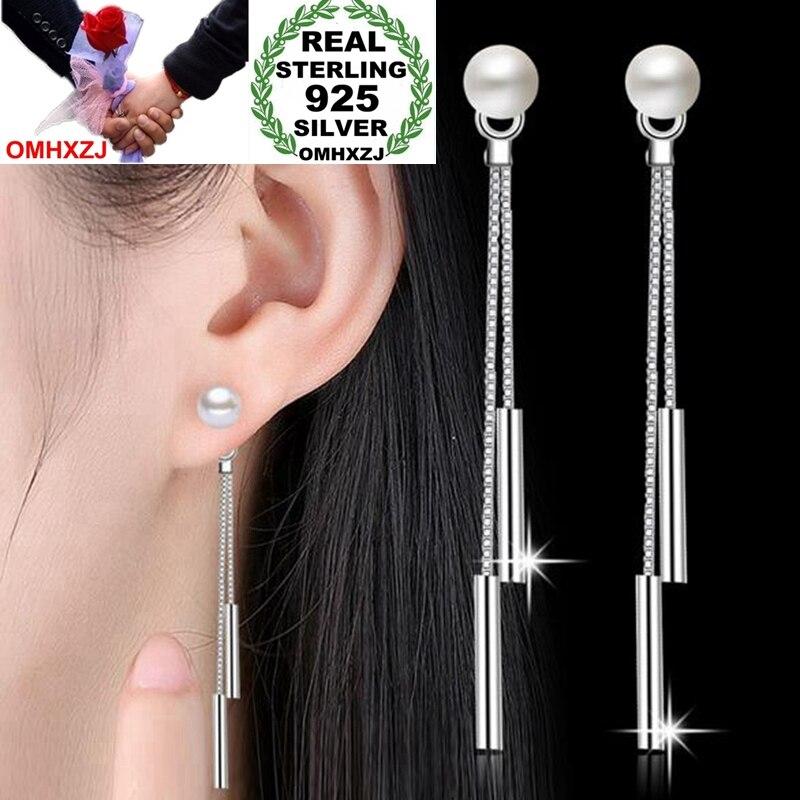 OMHXZJ Wholesale Jewelry Simple Fashion Star For Woman Gift Pearl 925 Sterling Silver Double Line Tassel Stud Earrings YS242