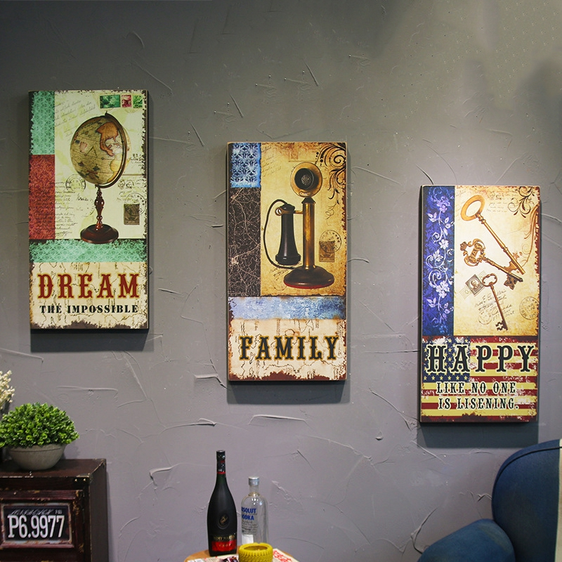 Wood Vintage Home Decor Wall Decoration Retro Bar Coffee Shop Home Wooden Wall Painting plaque Unique Multi Style Hanging FrameWood Vintage Home Decor Wall Decoration Retro Bar Coffee Shop Home Wooden Wall Painting plaque Unique Multi Style Hanging Frame