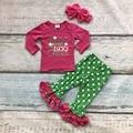 Nuevo color de rosa caliente/verde St. patrick trébol algodón de mamá pequeño Chaim polka dot ruffles pant set top trajes a juego con arcos