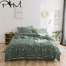 Papa&Mima Leaves print Twin Queen King size Nordic style fashion bedding set Cotton flat sheet pillowcases duvet cover sets