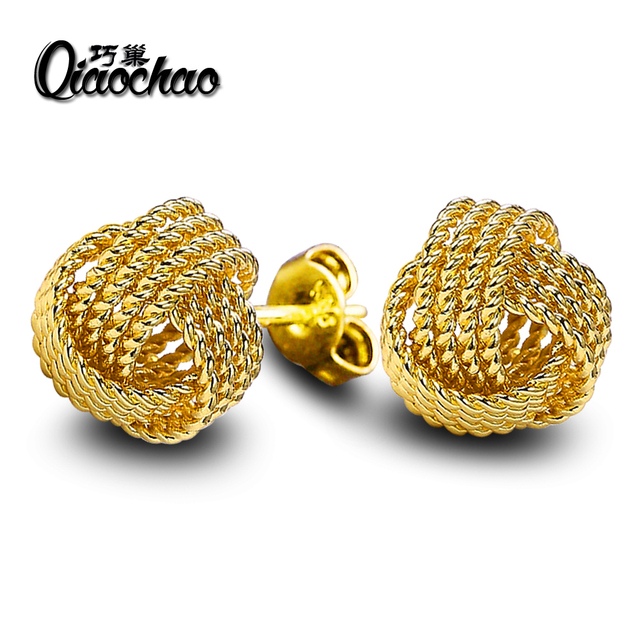 Fashion Jewelry Gold Silver Gun Color Small Stud Earrings For Woman Double Colors Knot