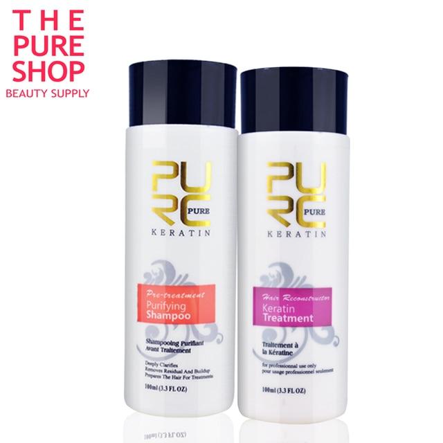 keratin shampoo and keratin hair treatment 100ml x 2 set hot sale use at home make hair smoothing and shine free shipping PURC