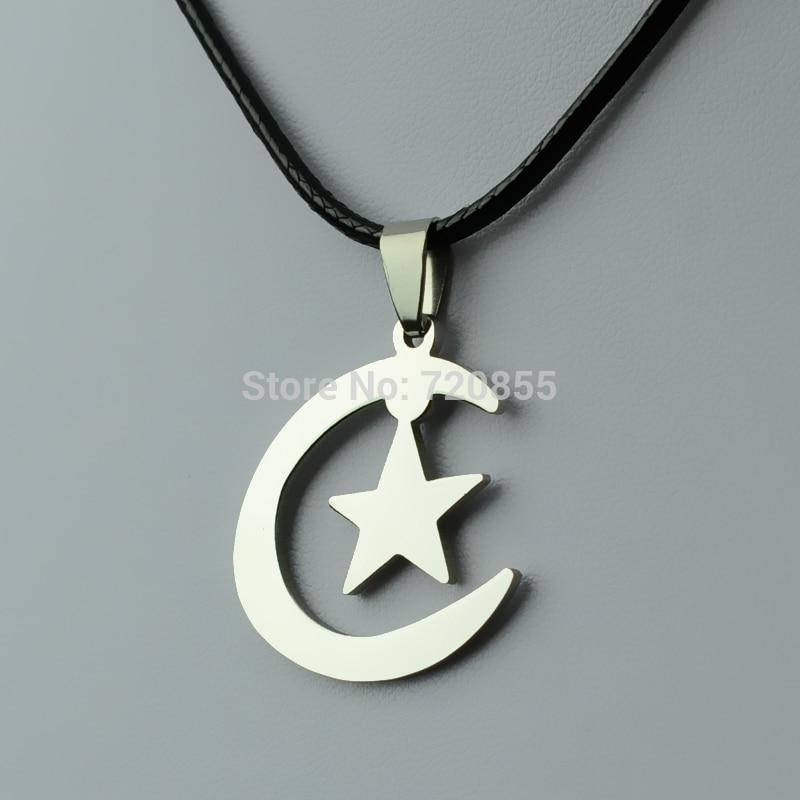 Islamic pendants necklaces chain 45cm60cm allah necklace the islamic crescent pendants necklaces ropemoon stars stainless steel jewelry women men aloadofball Images
