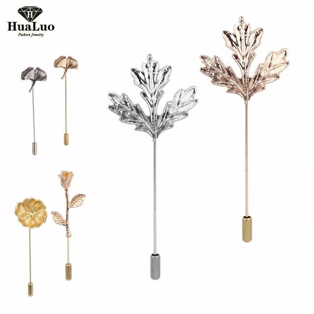 Unisex Men Women Rose Flowers Leaves Brooch Pins Suit Boutonniere Collar Lapel E