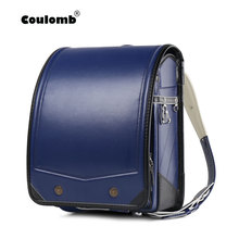 Coulomb Randoseru Children Backpack For Kids School Bags PU Pachwork Japanese Orthopedic Backpacks Mochila Infantil  Babys