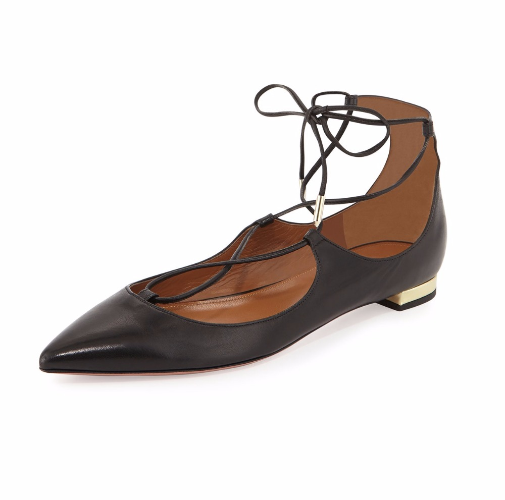 ФОТО Ladies Womens Handmade Pointed Toe Lace Up Flats Shoes Crossover Strap Self-tie Metallic Covered Heel Cute Casual Shoes 17 Color