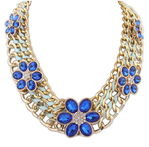 24df0f984671 Moda accesorios gargantilla bisutería Vintage rojo collar de longitud  femenino tejido collar de flores cadena de
