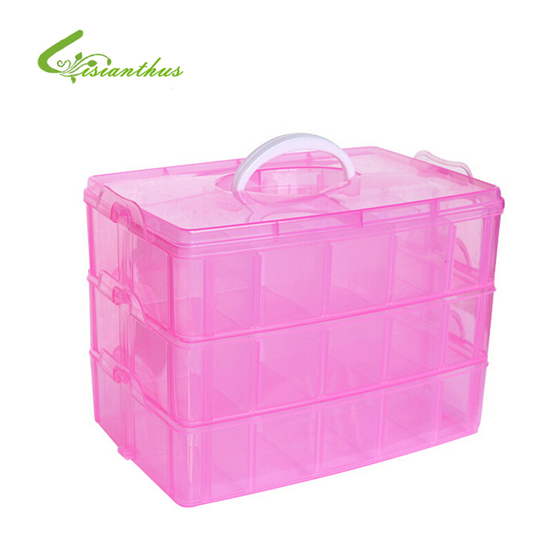 Transparent 3 Layers 30 Grids Cosmetic Container Hand Carry Storage Box Plastic Case Jewelry Trinket Storage Box Tool Organizer
