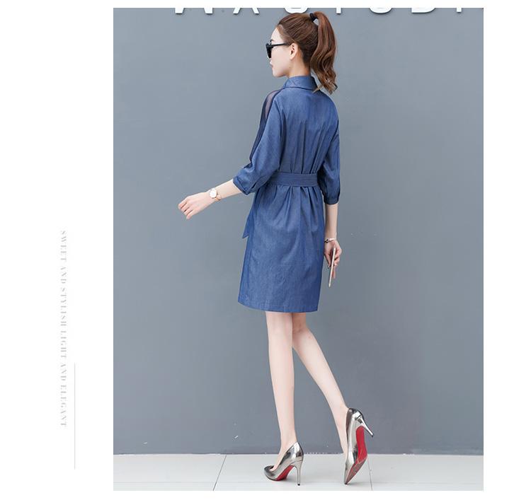 Dress female spring and autumn 2019 new fashion commuter slim strapless denim dress tide vestido Q280 13