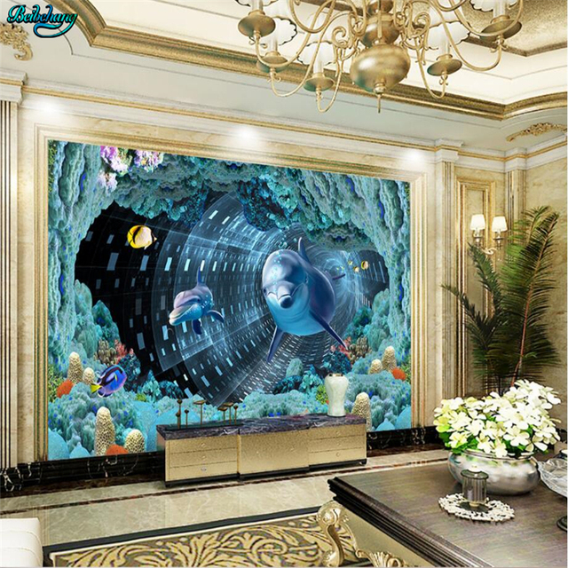 Beibehang Large Custom Wallpaper Underwater Spiral Cave Dolphin TV Background Living Room Bedroom Wall Decoration