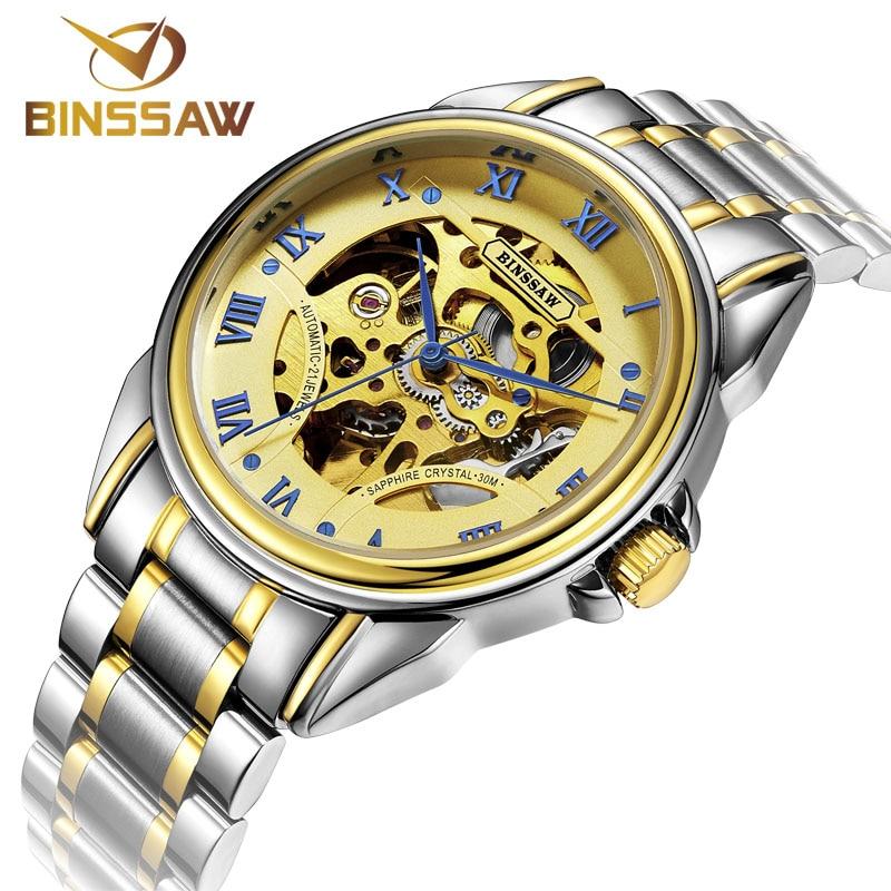 BINSSAW Merk Skeleton Gouden Horloges Heren Mechanisch Polshorloges - Herenhorloges - Foto 4