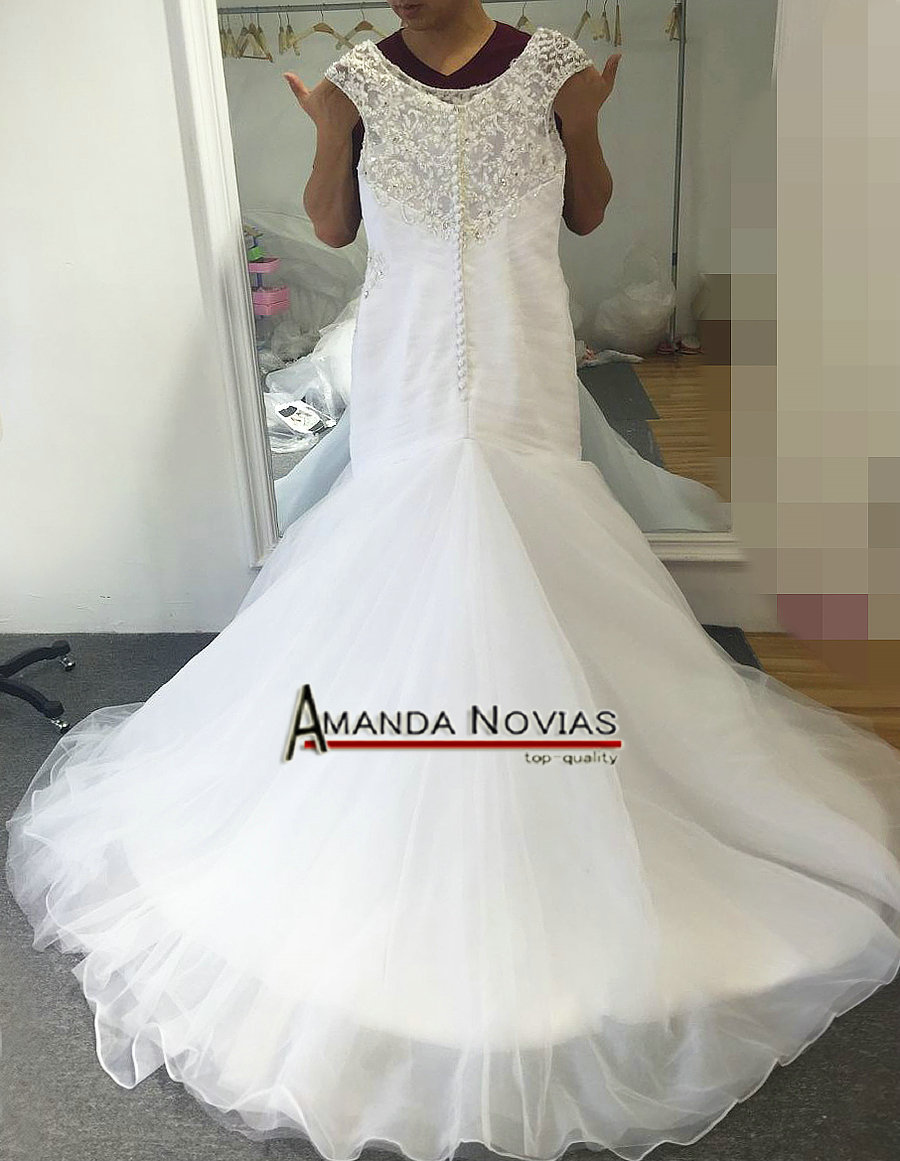 US $289.0 |White tulle mermaid wedding dress with beading plus size wedding  dress mermaid style-in Wedding Dresses from Weddings & Events on ...