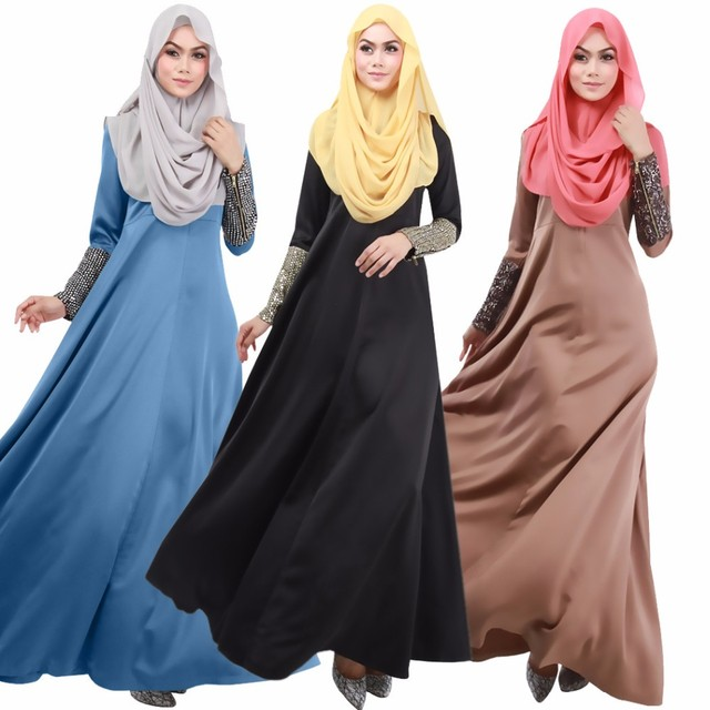 New Super Beautiful Muslim Womens Kaftan Abaya Dress O-Neck Long Sleeve Floor-Length Middle East Arab Elegant Jilbab Dresses