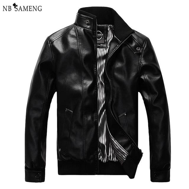 Spring Autumn New Fashion Male Leather Jacket Plus Size XXXL 4XL 5XL Black Brown Mens Mandarin Collar PU Coats nswt3075