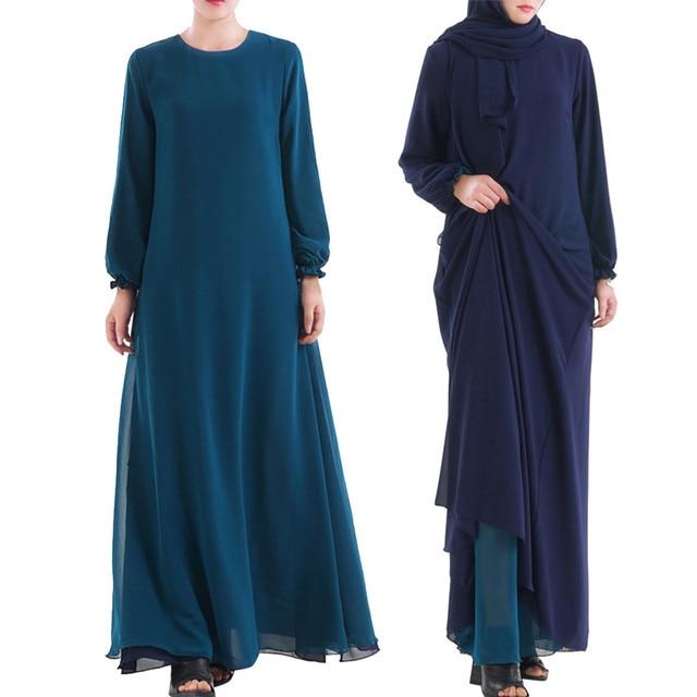 Muslim Women Wear On Both Sides Dubai Abaya Maxi Dresses Islamic Clothing Women Casual Long Sleeve O-Neck Casual Dress a417 3