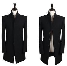 Британский стиль подростки мужская зимнее пальто стоять Воротник черный шерстяной пальто мужские Марка сущность однобортный мужские гороха пальто S-9XL