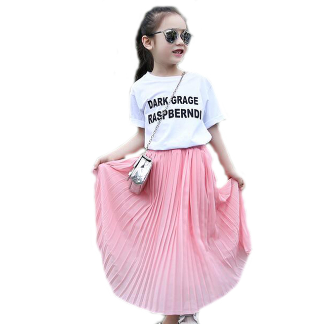 d2f2a9b54731 Summer Teenager Girls Pleated Chiffon Long Skirts Children Hem ...