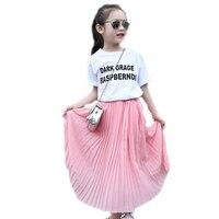 Summer Teenager Girls Pleated Chiffon Long Skirts Children Hem Skirts For Girls Bohemian Skirt Big Girls
