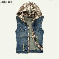 2016 Men Denim Vest Sleeveless Jean Jacket Hooded Korean Fashion Mens Denim Waistcoat Chaleco Hombre