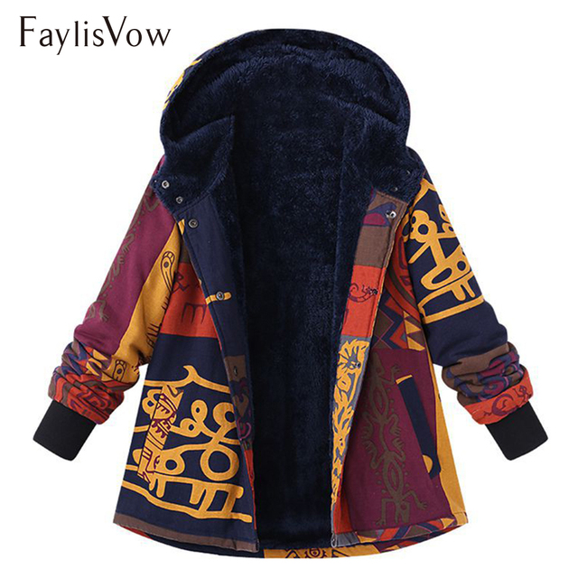 467147d06ab5a Plus Size Thick Warm Hooded Coat Parka Ethnic Printed Fluffy Fleece Long  Sleeve Winter Jacket Women Retro Outerwear Coats 5XL