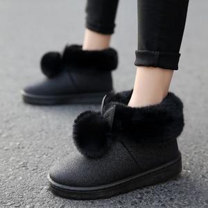 Image 3 - 2019 Inverno Nuovi Stivali Caviglia Donne Orecchie di Coniglio Carino Stivali Impermeabili e Velluto di Spessore Scarpe di Cotone Caldi Stivaletti Scarpe Basse