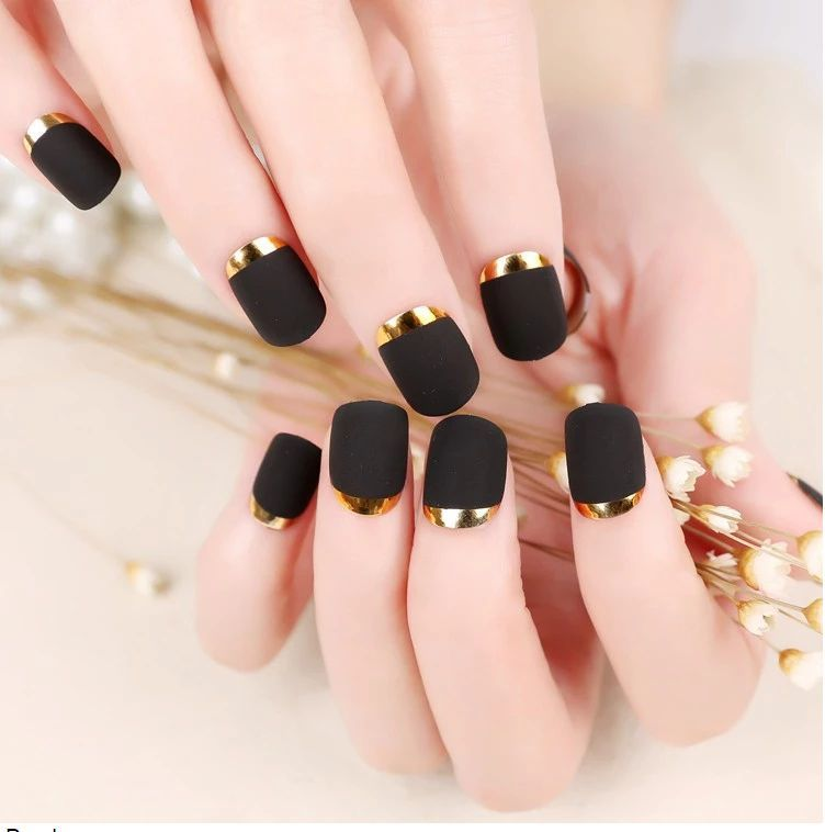 96 Pcs Matte French Fake Nail Oval Short Art Design Full Cover Gel Nails Acrylic New Silver Golden Side Artificial In False From Beauty