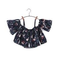Floral Print T shirt Top Sling Shirt Girls Cotton Leisure Baby Kids Vocation Girl Children Clothes Clothing Summer G2008
