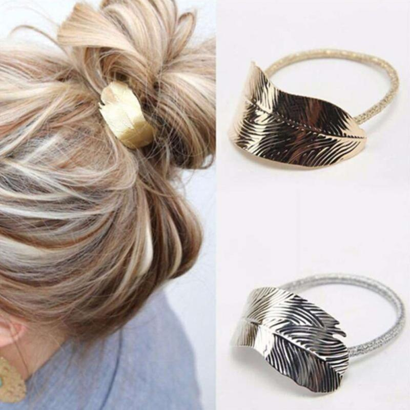 Elegant Appearance Women Gold Silver Color Hair Rope Ornaments Thin Metal Leaves Rubber Band Stylish Elastic Hair Accessories
