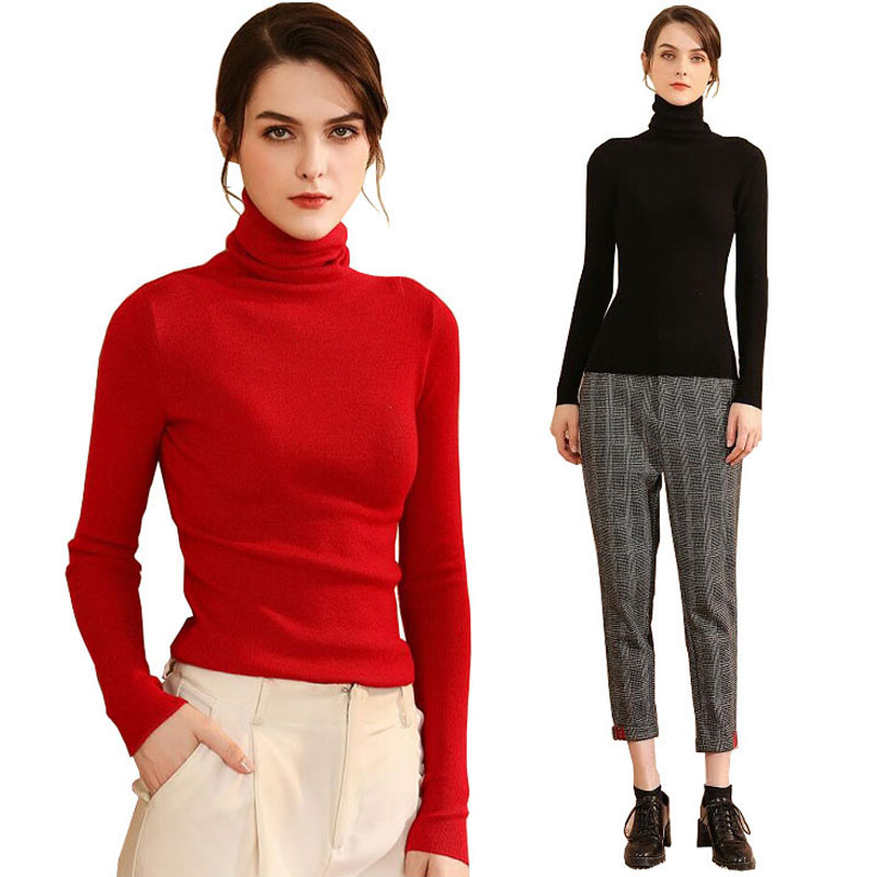 Autumn Winter Thickened Warm Cashmere Wool Knitted Sweaters Pullovers Plus Size Basic Turtleneck Sweater Women Solid Tops New