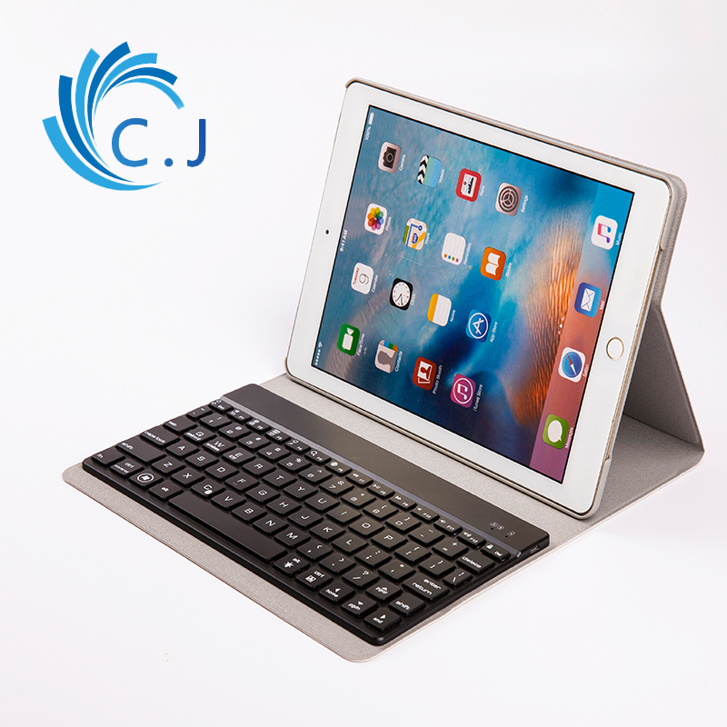 For iPad 9.7 iPad Air 2 iPad 6 Detachable Colours Backlight Wireless Bluetooth Keyboard + Ultrathin PU Leather Case Stand Cover