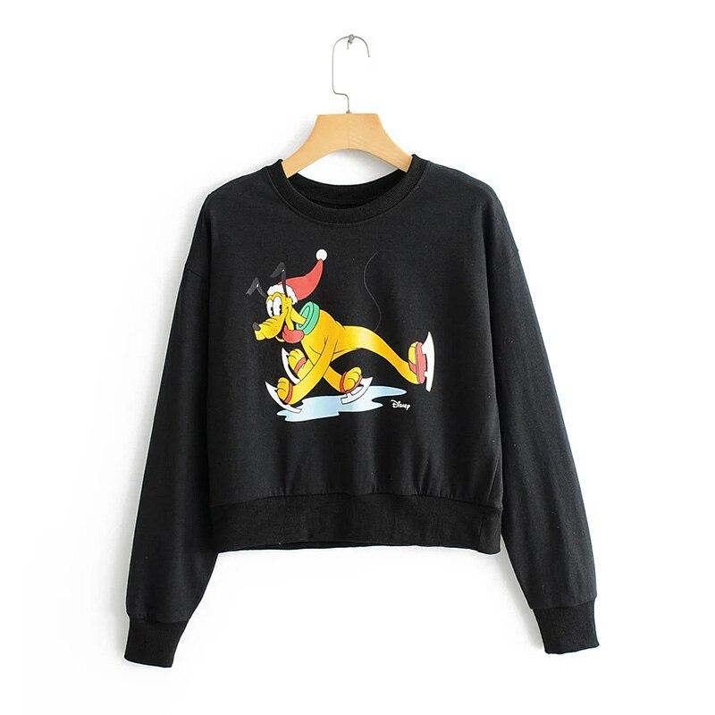 2019 Cartoon Pluto Regular Pullovers Oversize Sweatshirt Plus Size Tops Hoodies Women Harajuku Cotton Print in Hoodies amp Sweatshirts from Women 39 s Clothing