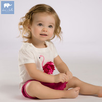 DB3588 Dave Bella Summer Baby Girls Pink Flamingos Clothing Sets Child Pink Set Infant Clothes Kids