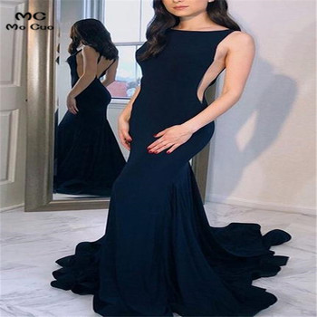 2019 Dark Blue Mermaid Evening Dresses Long Elastic Satin Backless Dark Blue Formal Evening Party Dress for Women