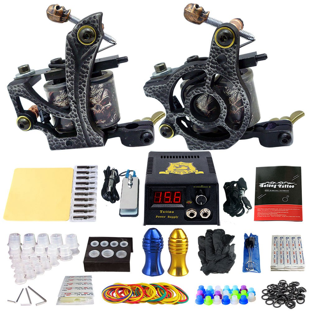 цены Complete Tattoo Machine Kit Set 2 Coils Guns Sets Grips Body Arts Supplies Needles Tips Tattoo Beginner Kits TK202-24