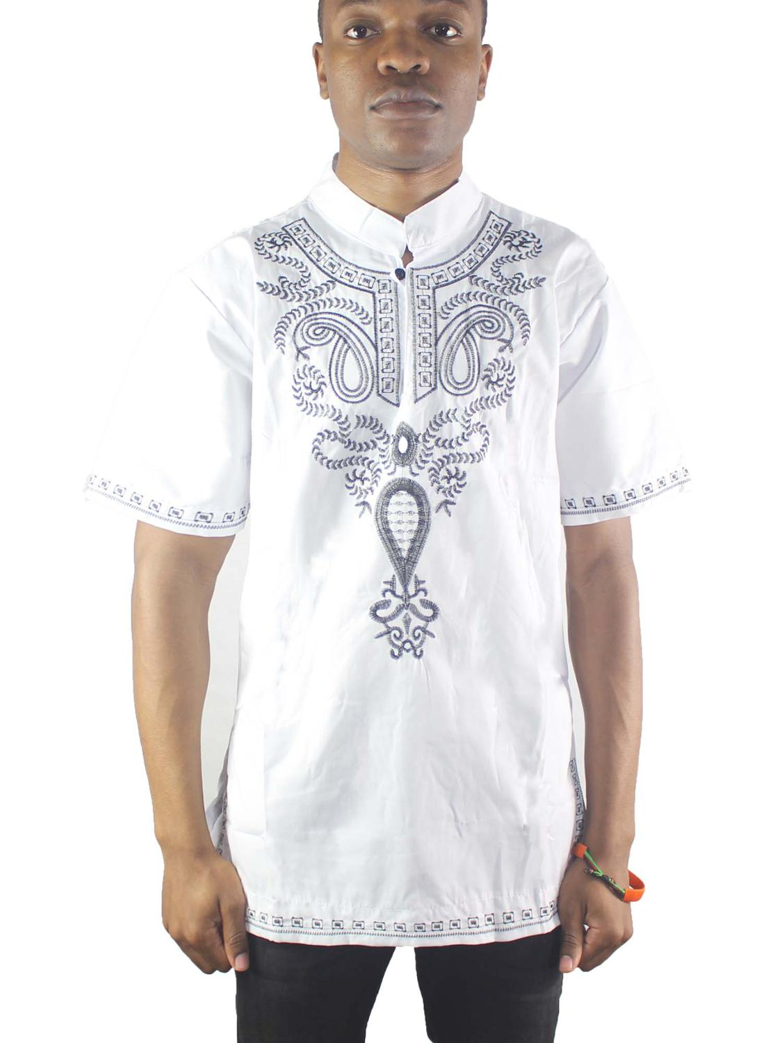 White Abstract Embroidery Men`s Ethnic Tops Side Slit Muslim Shirts For Summer Wearing