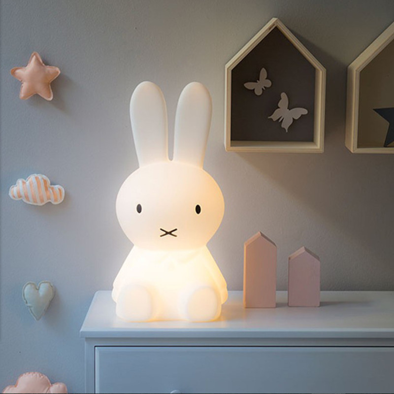 EMS 50CM Rabbit Led Night Light Dimmable for Children Baby Kids Gift Animal Cartoon Decorative Lamp Bedside Bedroom Living Room wake up led night light alarm clock with sunrise simulation fm radio table lamp for kids children baby bedroom nightlight gift