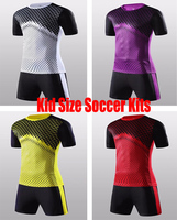 Kid S High Quality Soccer Uniform Blank Children Football Suit Youth Short Sleeve Outdoor Training Sports
