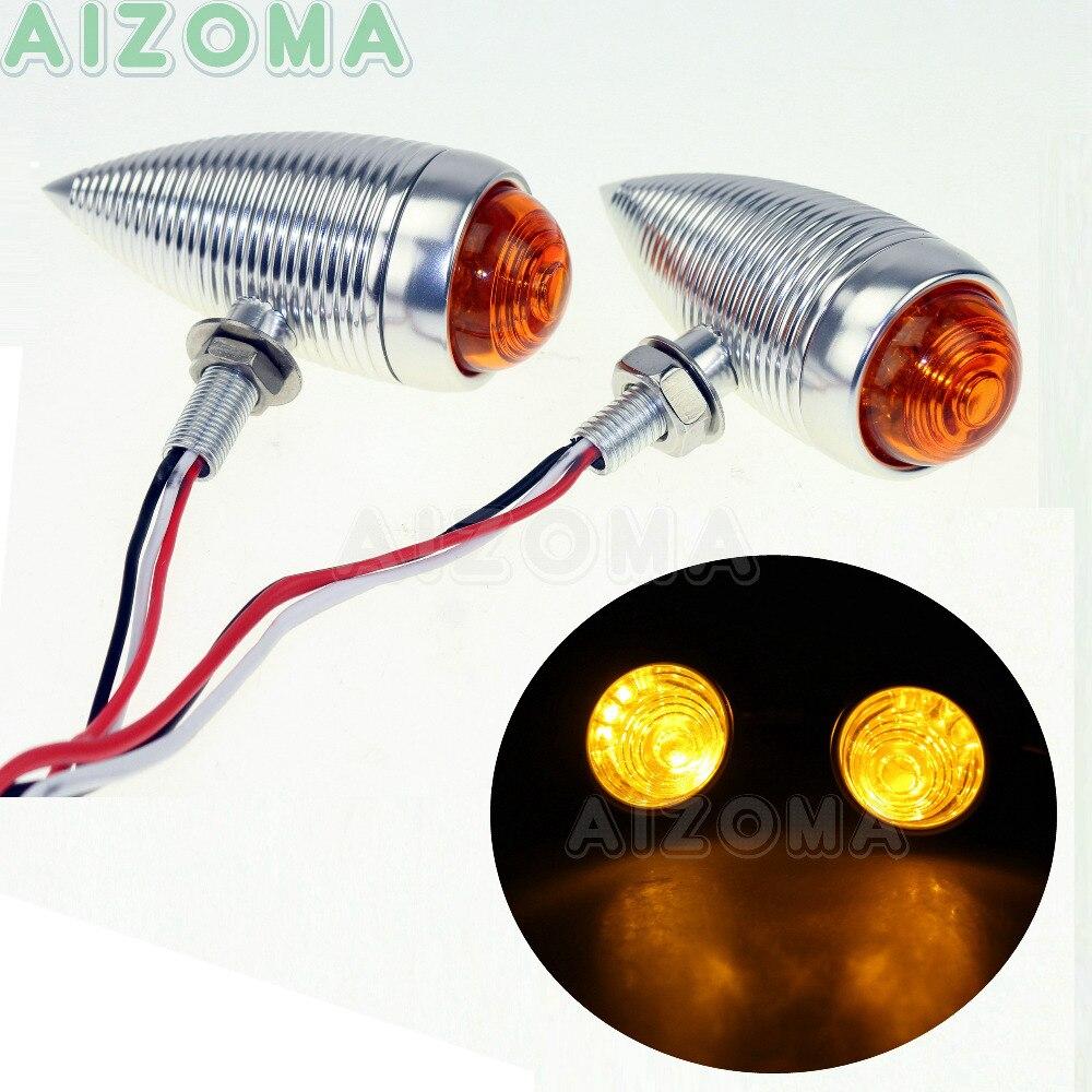 2x argent moto LED clignotants lumière aluminium clignotant indicateur pour Harley Sportster 883 Dyna faible cavalier rue gros Bob
