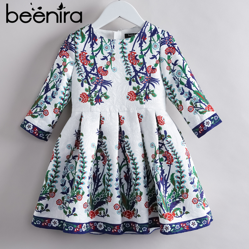 цена на Beenira Children Princess Dress 2018 New Brand European And American Style Kids Half-Sleeve Pattern Girls Autumn Dress For 4-14Y