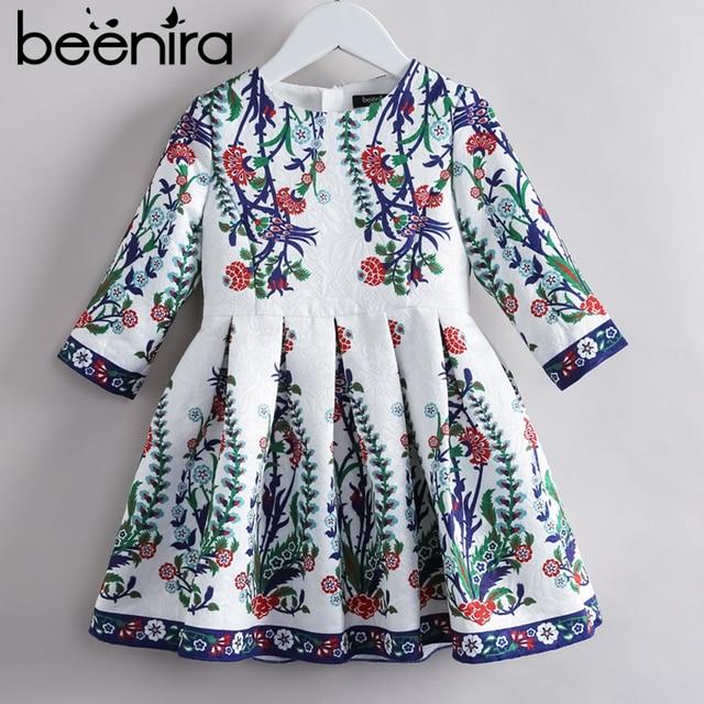 Beenira Children Princess Dress 2019 New Brand European And American Style Kids Half-Sleeve Pattern Girls Winter Dress For 4-14Y