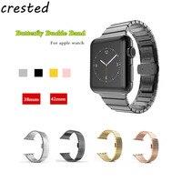 CRISTA Aço Inoxidável Relógio banda strap para Apple 42mm/8 Ligação Pulseira Original de metal Borboleta fivela Pulseira para iwatch 2/1