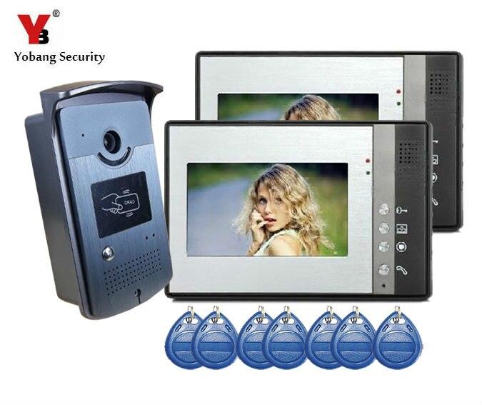 YobangSecurity 7 Inch Video Door Phone Doorbell Entry Intercom System Kit with 1-camera 2 monitor Unlock Rainproof Home Security
