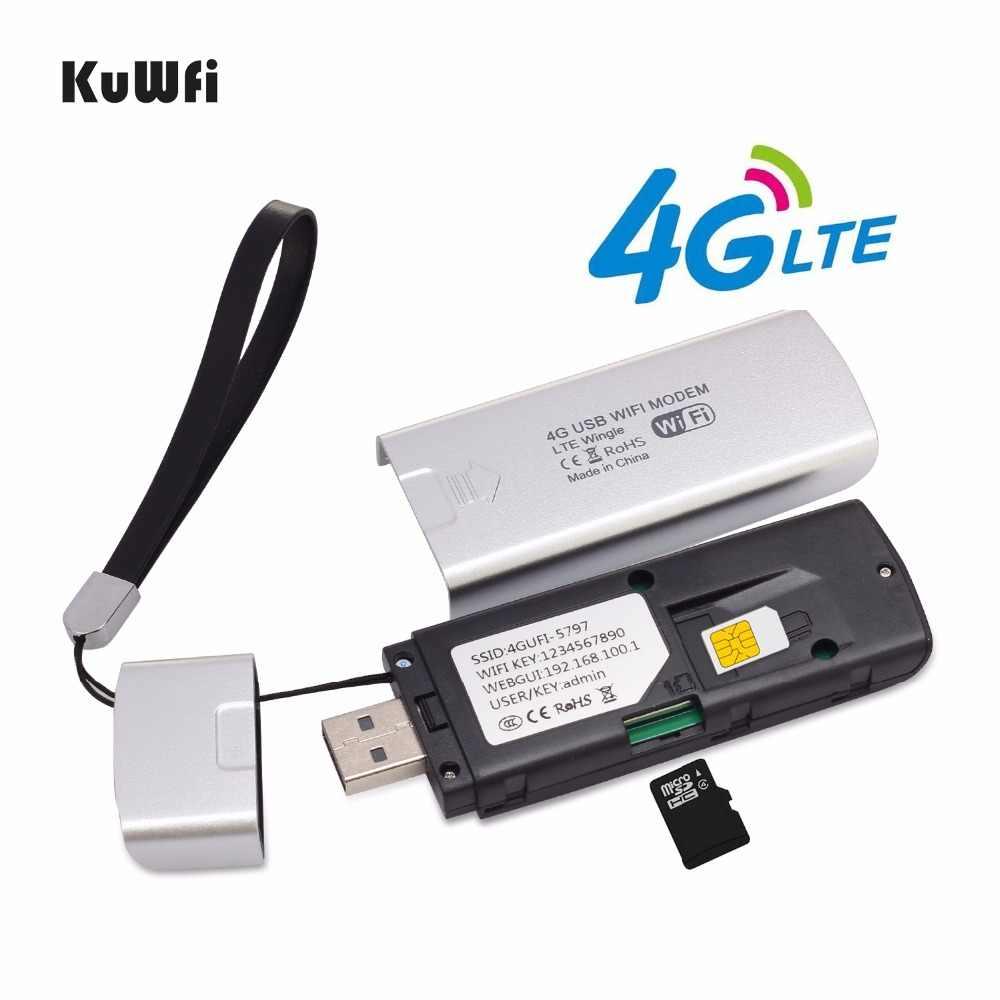KuWfi 4G مودم USB واي فاي دونغل 4G LTE موزع إنترنت واي فاي USB صغير LTE راوتر لاسلكي جيب المحمول واي فاي نقطة اتصال مع فتحة للبطاقات Sim