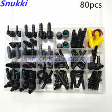 High quality one set SAE Fuel Urea pipe tube fittings auto Fuel line quick connector kit whole set total 80pcs for car