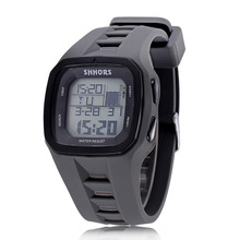 Купить с кэшбэком Shhors Brand Fashion Men Digital Watch Sport LED Military Watch Men Electronic Wristwatch Waterproof Outdoor Relogio Masculino