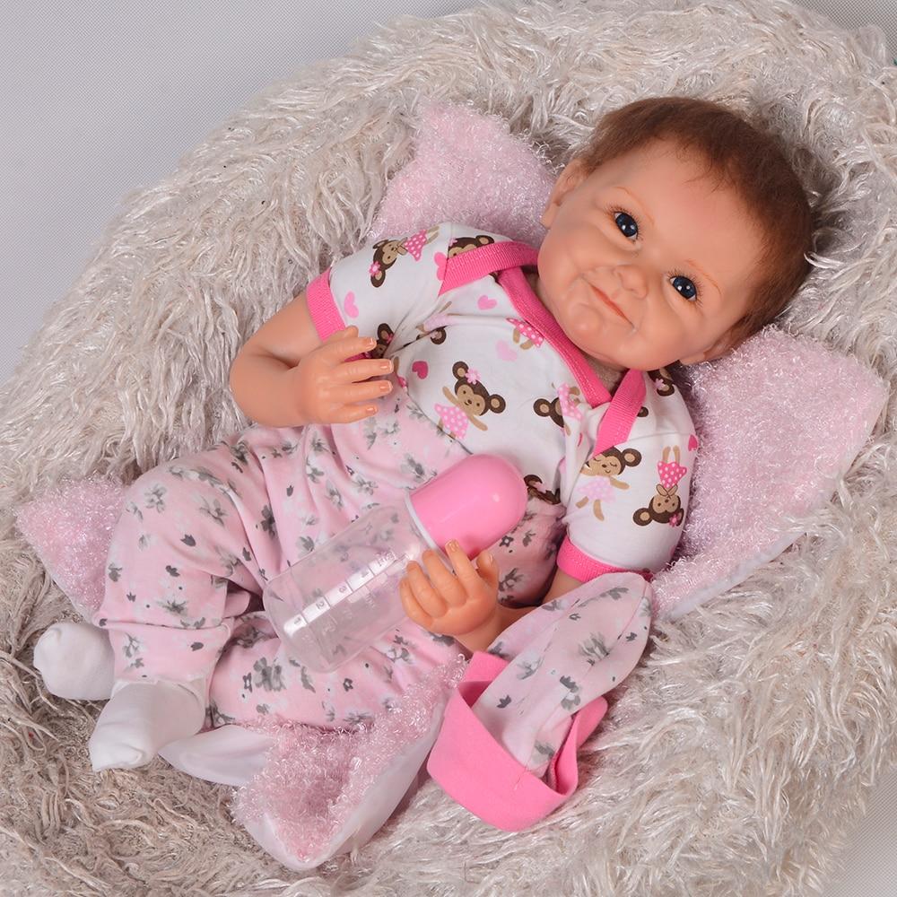 Fashion 22 KEIUMI Silicone Baby Dolls Truly Reborn Baby Dolls 55 cm Ugly Smile Baby Girl