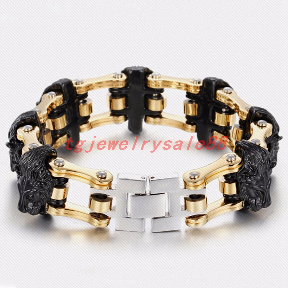 22.5mm Wide Stainless Steel Gold Color Motorcycle Chain Bracelet Strong Mens Cuff Jewelry Fashion Black Lion Heads Xmas Gift