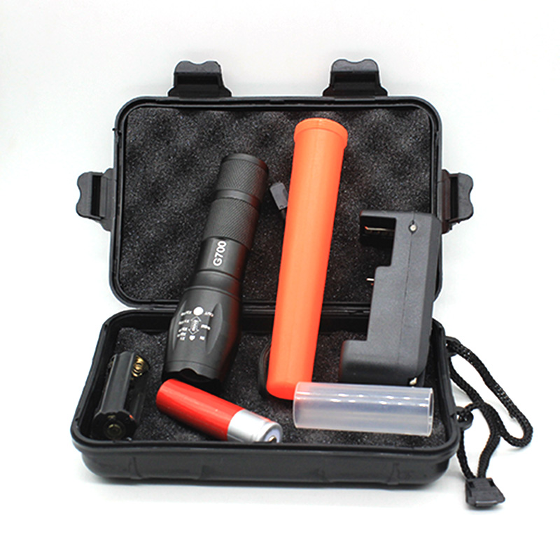 Cree XML T6 3800 Lumens Tactical Military Flashlight Linternas + Gift Box + Charger + Red Baton + 18650 Battery Lantern Lamp фонарик tomtop xml t6 2200lm 5 linternas & hx318a 2200lm flashlight hw 30